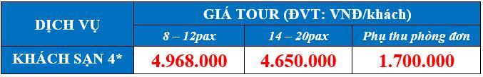 bảng giá tour du lịch Hạ Long Ninh Bình